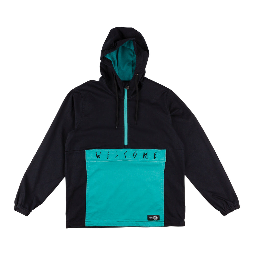 Scrawl Garment-Dyed Twill Anorak - Black/Teal