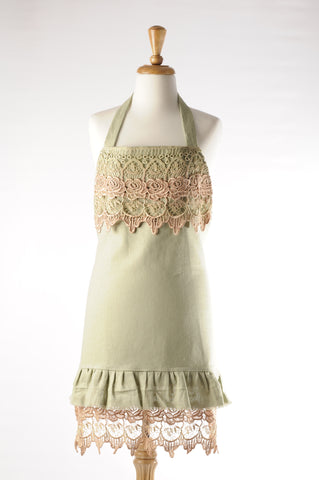rose lace apron. hostess apron.