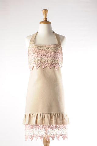 rose lace apron. hostess apron pink.