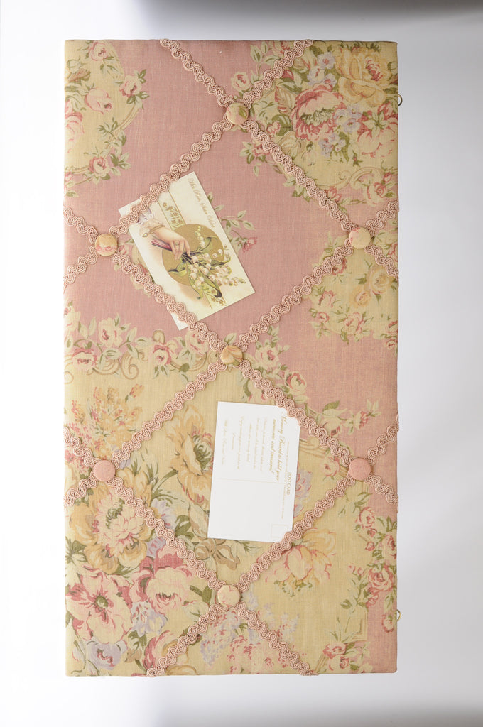 French Floral linen Noticeboard. Memory Board.