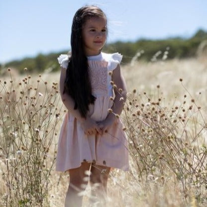 Linen and lace childs pinafore dress