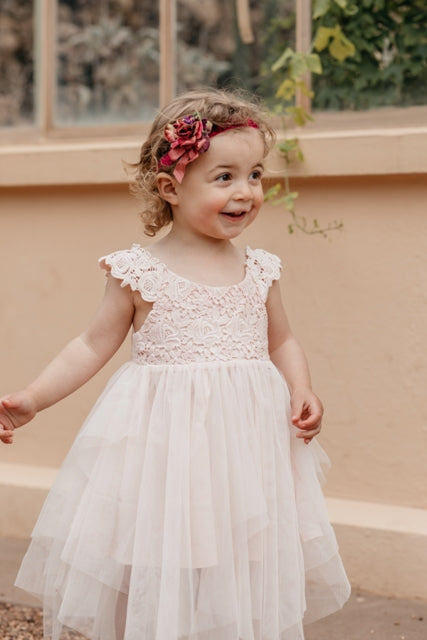 Aurora Fairy dress . Ivory. Blush.