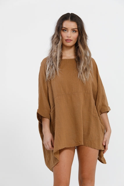 Camilla Cotton Top. Tobacco.