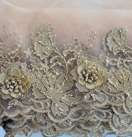 gold glittered lace.  gold on champagne  applique roses