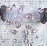 crystal button trim. pink and clear.