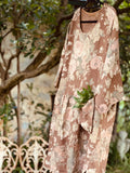 Clarissa Linen Dress. Floral in Tobacco