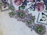 floral vintage beaded lace embellishment panels. lilac and green.