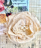 crochet lace rose brooch. Antique cream. vintage rose and coffee.