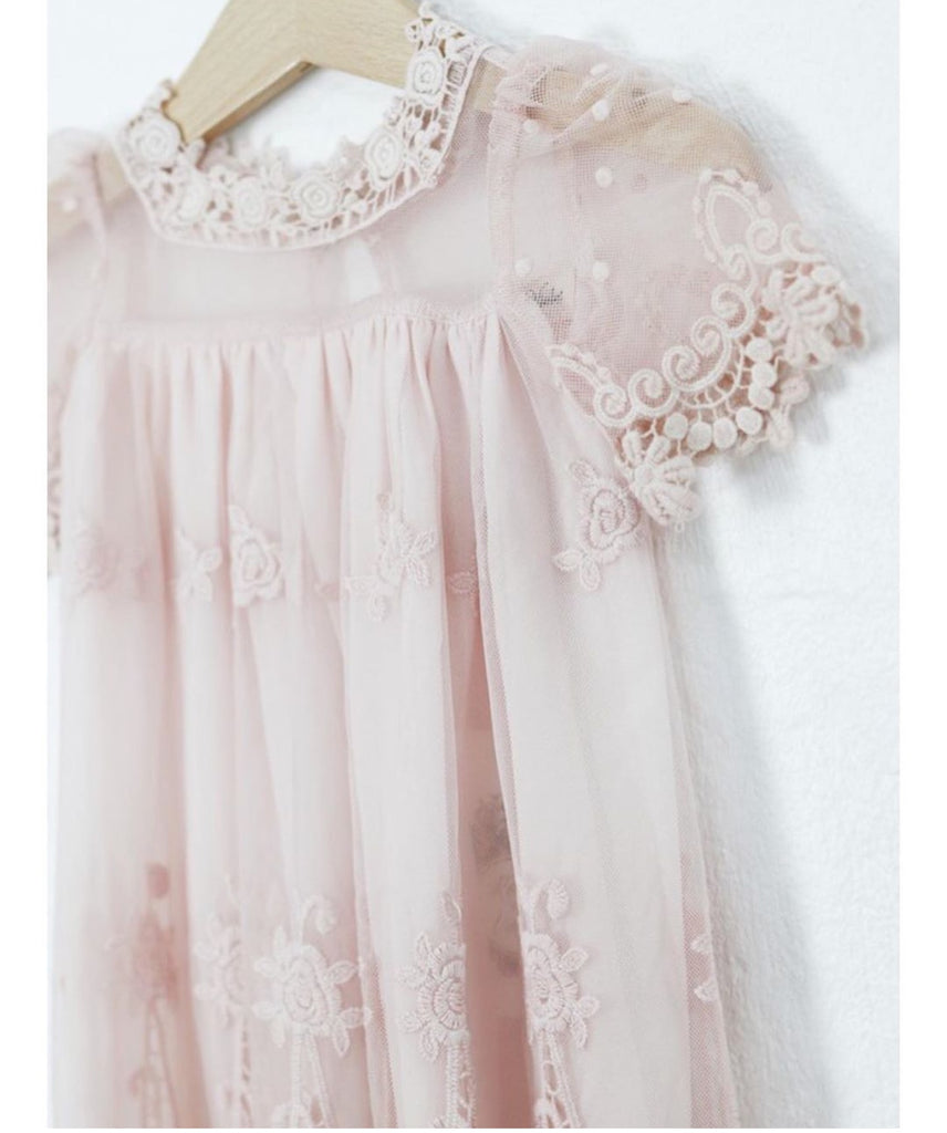 Heirloom Cherub Lace baby dress . Pale pink