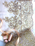 Gold Glittered Lace. Roses and leaves design.