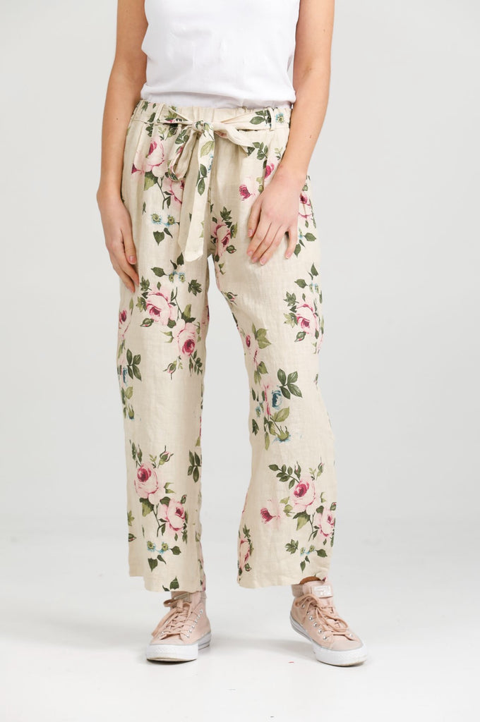 Eva Linen  Floral Pants. Antique Cream