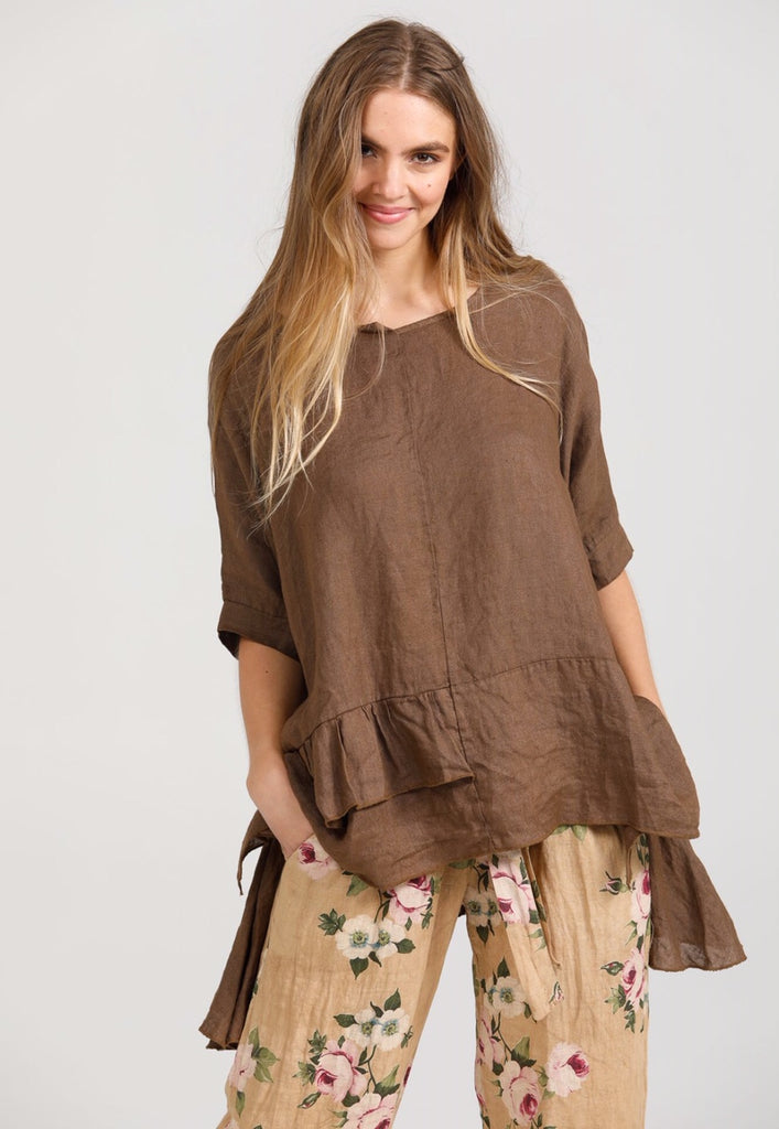 Linen Sorrento Top.  Chocolate