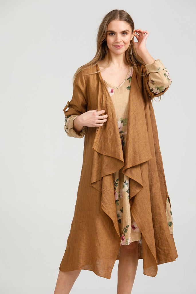 Linen Sabine Duster coat. Tobacco