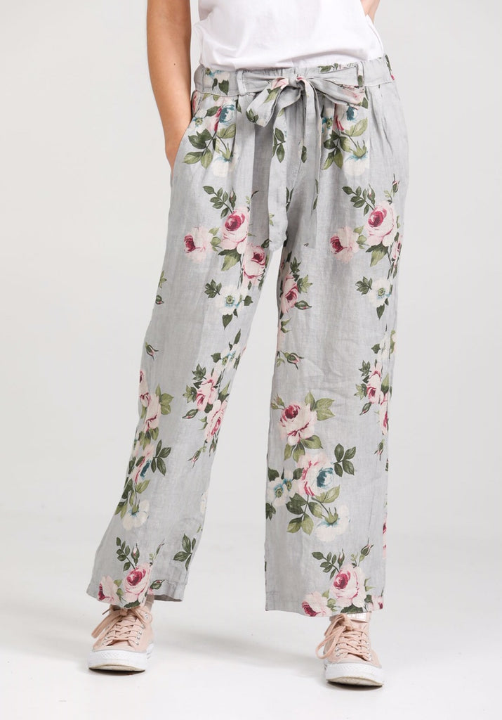 Eva linen floral Pants. Dove Grey
