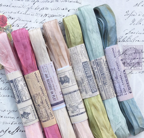 The Watercolour Collection of hand dyed , aged ribbons. Pastel Palace pack 2.