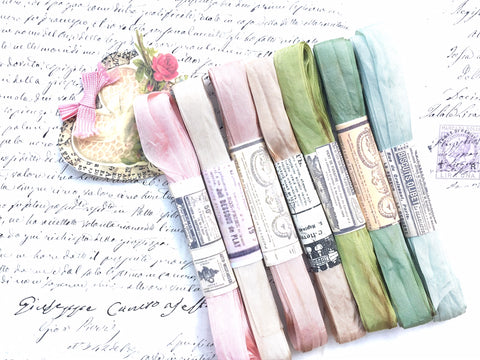 The Watercolour Collection of Hand dyed, aged ribbons. Pastel Palace. Pack one.