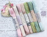 The Watercotour Collection of Hand dyed, aged ribbons. Pastel Palace. Pack one.
