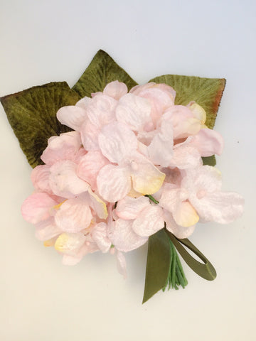 velvet hydrangea posy pale pink. millinery bouquet. millinery supplies.
