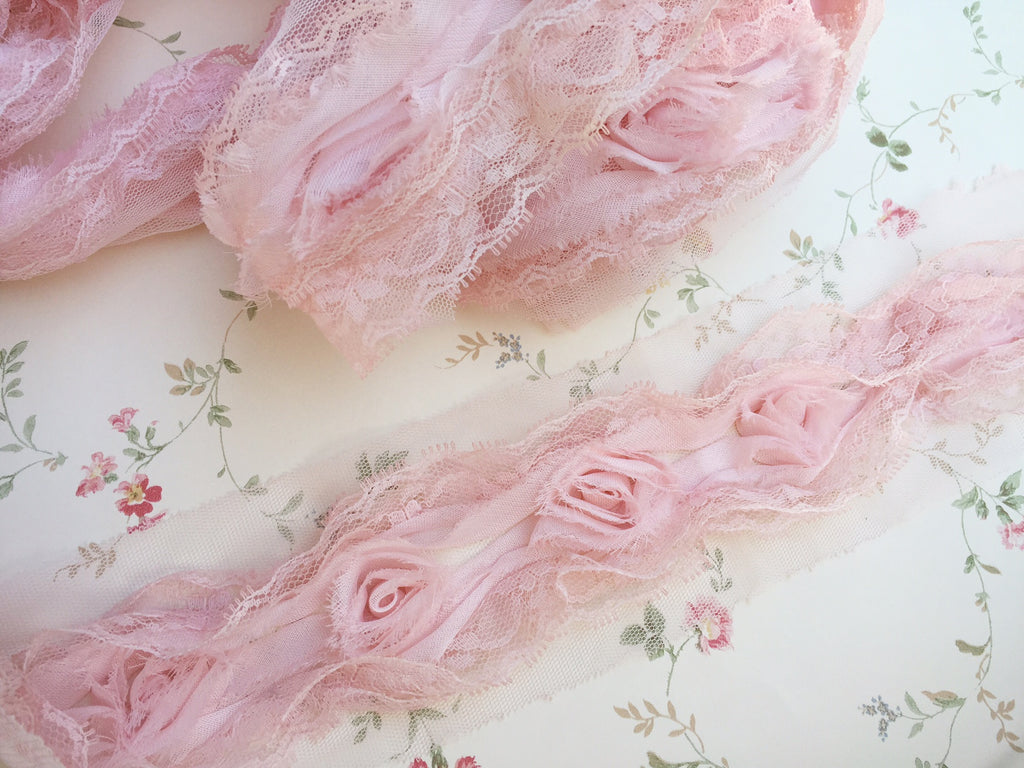 chiffon and lace rose trim