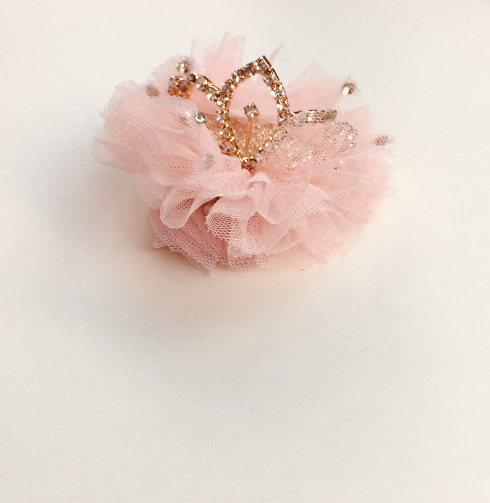 tulle diamante Princess crown clip / baby band  pink.