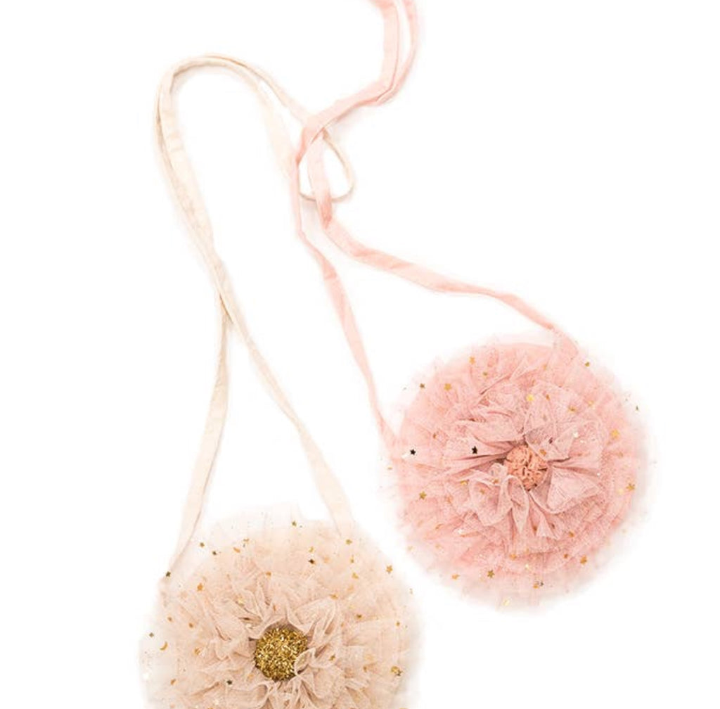 Tulle Ruffle Bags.  Cream with gold sparkles