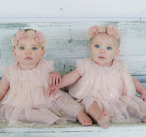 Baby Twinkle Twinkle Little Star dress. Pale pink with gold stars