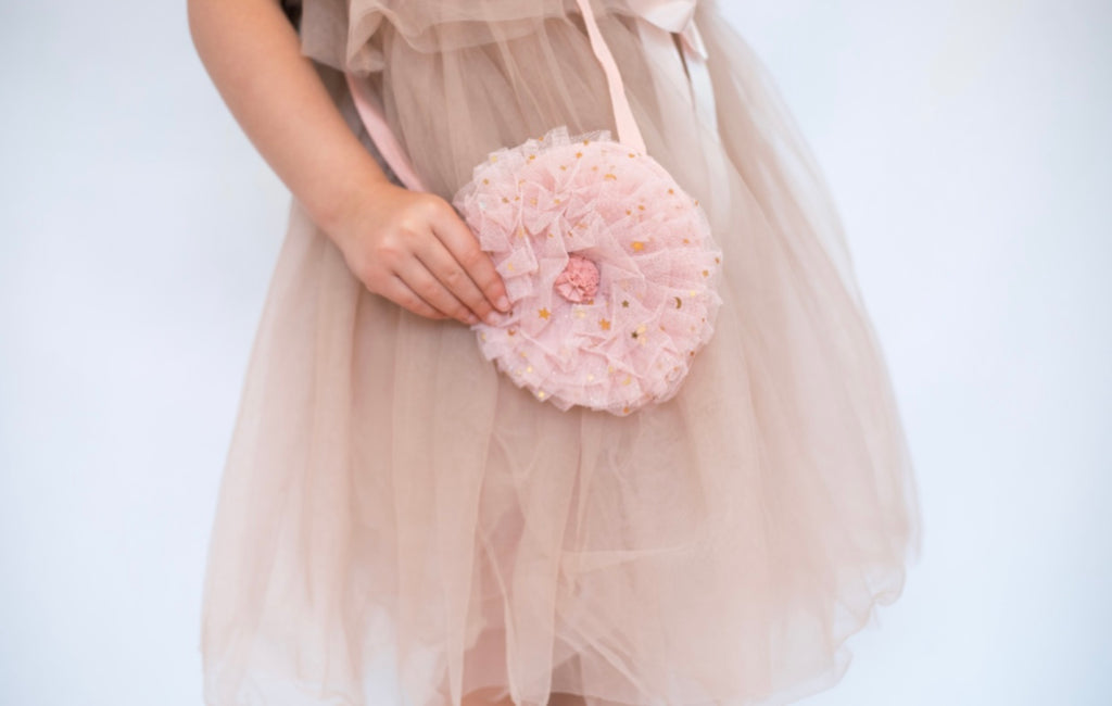 Tulle Ruffle shoulder bag. Pink with gold sparkles