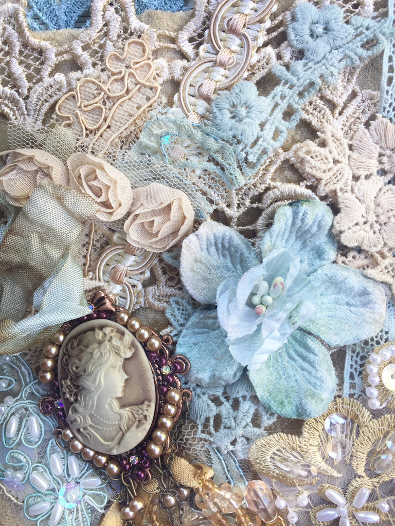 Antique French Blue and Gold Embellishment Pack