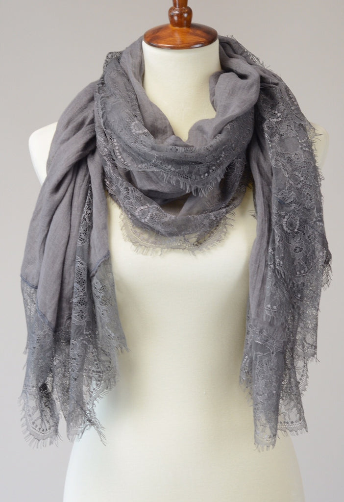 cotton and lace scarf. Charcoal