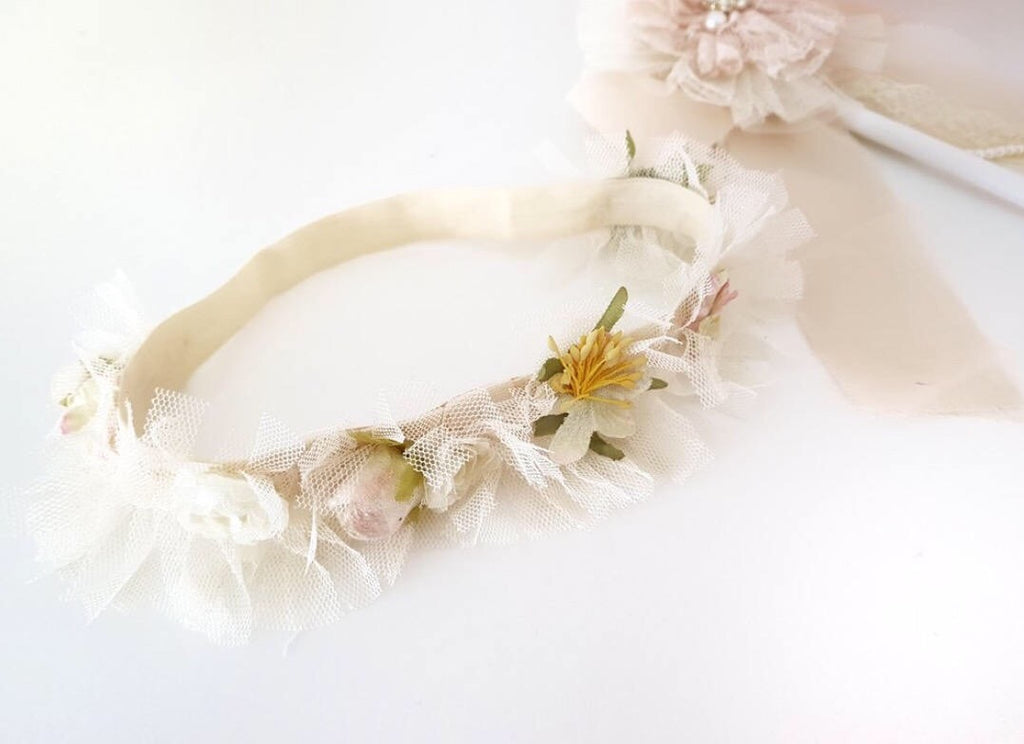 childrens flower and tulle headband