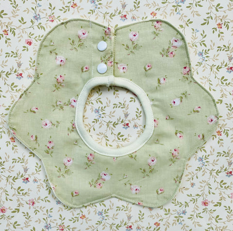 Flower Shaped Baby bib.  Vintage green/rosebud.
