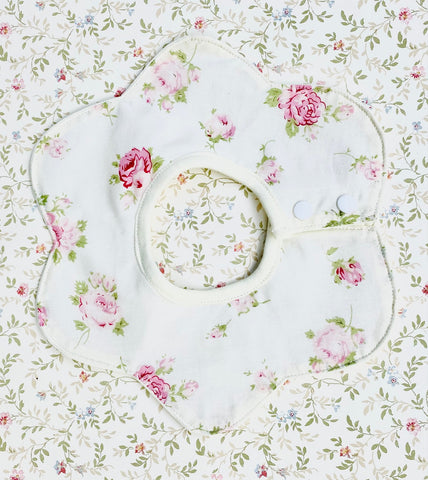 flower shaped baby Bib. rosebud.