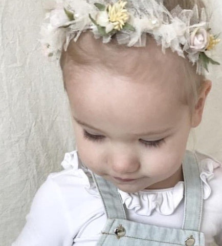 childrens flower and tulle baby band