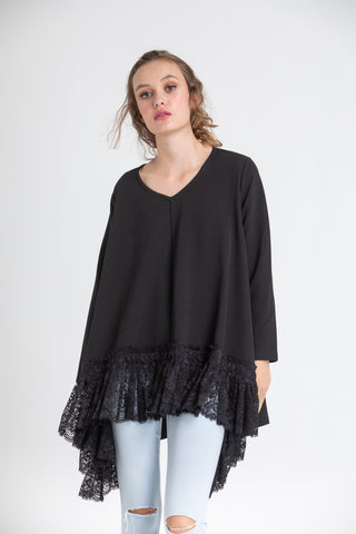 Ebony black lace edged top