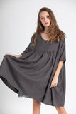 Provence cotton smock dress. Charcoal