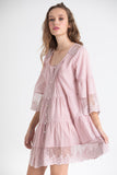 fine cotton and lace shirtdress in dusty pink.