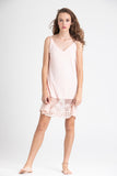 lace edged slip in blush pink