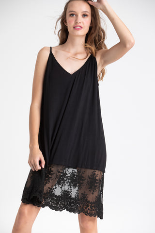 lace edged slip black.