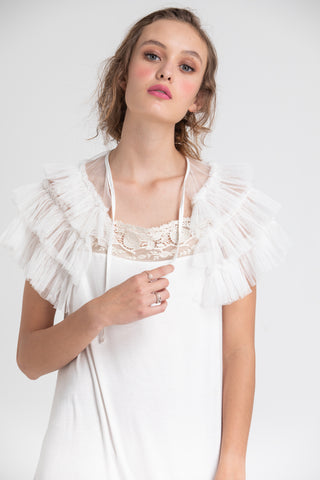 Tulle Ruffled Collar. White