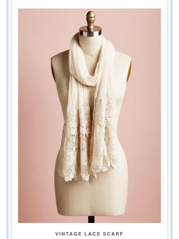 Vintage Lace scarf. cream.