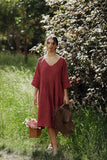 Stella linen dress. Antique Rust.