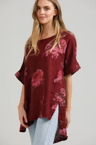 Contessa Linen Floral top.  Mulberry Wine.