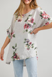 Contessa Linen Floral top. Silver grey