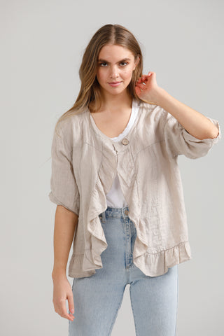 Fifi Linen Jacket. Natural Stone