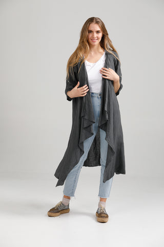 Linen Sabine Duster Coat. Charcoal.