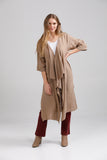 Linen Sabine Duster coat. toasted almond.