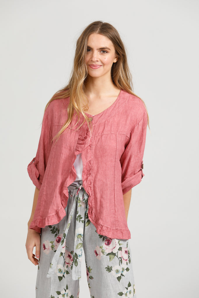Fifi Linen Jacket. Rose Pink.
