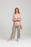 Linen Sorrento Top. Rose Pink.