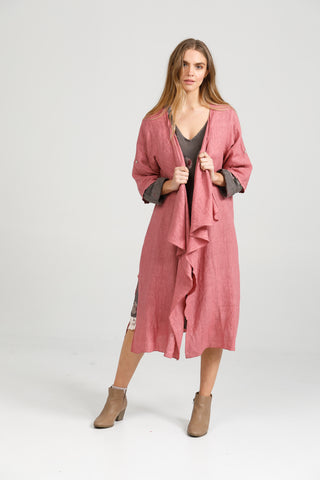 Linen Sabine Duster Coat.  Rose Pink