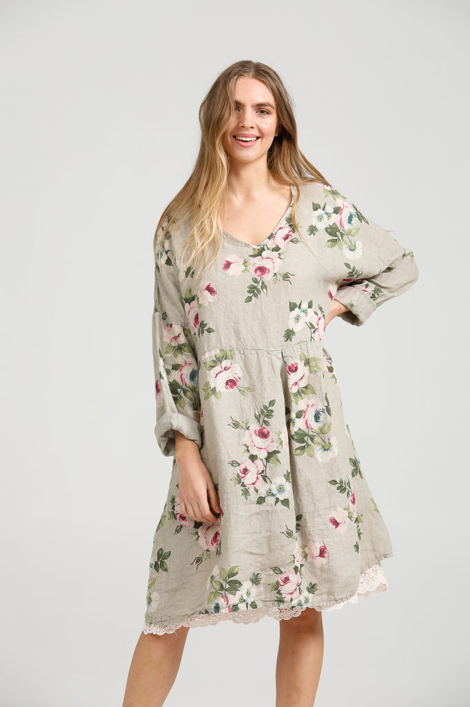 Amelia Floral Linen dress . Pale grey.